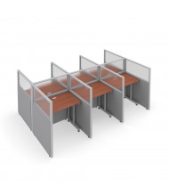OFM RiZe 6-Unit Privacy Station Cubicles (Shown in grey vinyl with translucent windows and cherry tabletop)