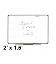 Quartet Prestige Total Erase 2 ft. x 1.5 ft. Euro Titanium Frame Grid Melamine Whiteboard