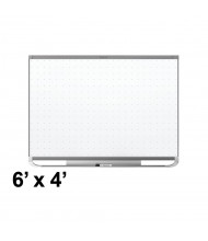 Quartet Prestige 2 Total Erase 6' x 4' Mahogany Frame Magnetic Grid Painted Steel Whiteboard (Shown in Graphite)