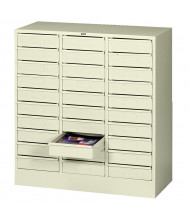 "Tennsco 30"" W 30-Drawer Legal Size Steel Organizer (Shown in Putty)"