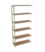 "Tennsco Regal 5-Shelf 36"" W x 76"" H Open-Back Light Oak Laminate Add-On Shelving Units"