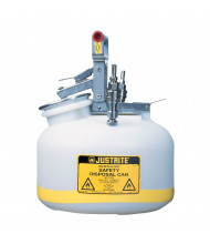 "Justrite TF12752 Quick-Disconnect 2 Gallon Poly Safety Can with Stainless Steel Fittings for 3/8"" Tubing, White"