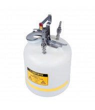 "Justrite TF12755 Quick-Disconnect 5 Gallon Poly Safety Can with Stainless Steel Fittings for 3/8"" Tubing, White"