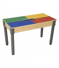 Wood Designs Time-2-Play Lego Compatible Table with Adjustable Legs, Rectangle