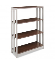 Linea Italia Trento TR735MOC 3-Shelf Steel Frame Laminate Bookcase in Mocha Finish