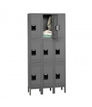 Tennsco Unassembled Triple Tier 3-Wide Metal Lockers with Legs (Shown in Medium Grey)