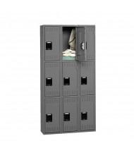 Tennsco Unassembled Triple Tier 3-Wide Metal Lockers without Legs (Shown in Medium Grey)