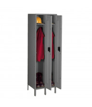 "Tennsco Single Tier 2-Wide Locker with Legs 18"" W x 21"" D x 72"" H (Shown in Medium Grey)"