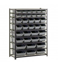 "Sandusky 8-Shelf 16"" D Steel Shelving Unit with 36 Grey Bins"