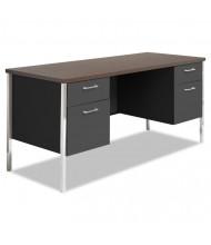 "Alera 60"" Straight Front Steel Double Pedestal Teacher Desk Credenza"