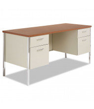 "Alera 60"" Straight Front Steel Double Pedestal Teacher Desk Credenza"