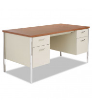 Alera 60'' W Straight Front Steel Double Pedestal Teacher Desk