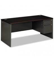 "HON 38000 66"" W Single Pedestal Office Desk, Right"