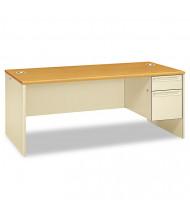 "HON 38000 72"" W Single Pedestal Office Desk, Right"