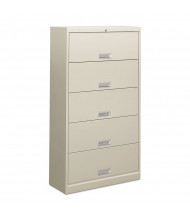 """HON Brigade 625LQ 5-Drawer 36"""" Wide Receding Door Lateral File Cabinet, Letter, Gray"""