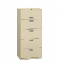 """HON Brigade 675LL 5-Drawer 30"""" Wide Lateral File Cabinet, Letter & Legal Size, Putty"""