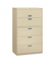 "HON Brigade 695LL 5-Drawer 42"" Wide Lateral File Cabinet, Letter & Legal Size, Putty"
