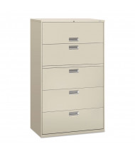 "HON Brigade 695LQ 5-Drawer 42"" Wide Lateral File Cabinet, Letter & Legal Size, Light Gray"