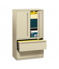 "HON Brigade 795LSL 2-Drawer 42"" Wide Lateral File Cabinet with Storage Cabinet, Letter & Legal Size, Putty"