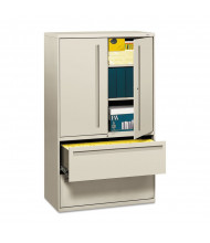 """HON Brigade 795LSQ 2-Drawer 42"""" Wide Lateral File Cabinet with Storage Cabinet, Letter & Legal Size, Light Gray"""