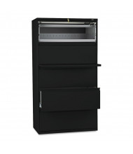 """HON Brigade 885LP 5-Drawer 36"""" Wide Lateral File Cabinet with Roll-out Posting Shelf, Letter & Legal, Black"""
