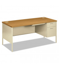 "HON Metro Classic 60"" W Single Pedestal Office Desk, Right"