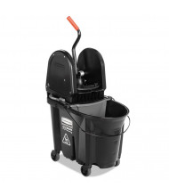 "Rubbermaid Commercial 27.375"" H x 16.125"" W Executive WaveBrake Down-Press Mop Bucket 35 qt., Black"