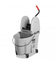 "Rubbermaid Commercial 27.375"" H x 16.125"" W Executive WaveBrake Down-Press Mop Bucket 35 qt., Grey"