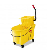 "Rubbermaid Commercial 38"" H x 17"" W WaveBrake Bucket/Wringer 44.qt., Yellow"
