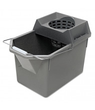 "Rubbermaid Commercial 12"" H x 17"" W Pail/Strainer 15 qt., Steel Grey"