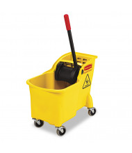 "Rubbermaid Commercial 32.25"" H x 13.25"" W Tandem Bucket/Wringer 31 qt., Yellow"