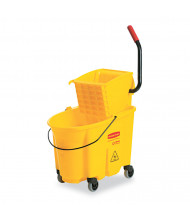 "Rubbermaid Commercial 16.75"" H x 15.625"" W WaveBrake Mop Bucket/Wringer 26 qt., Yellow"