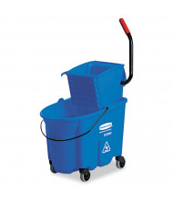 "Rubbermaid Commercial 36.5"" H x 20.1"" W WaveBrake Side-Press Wringer/Bucket 35 qt., Blue"