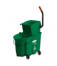 "Rubbermaid Commercial 36.5"" H x 20.1"" W WaveBrake Side-Press Wringer/Bucket 8.75 gal., Green"