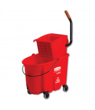 "Rubbermaid Commercial 36.5"" H x 20.1"" W WaveBrake Side-Press Wringer/Bucket 8.75 gal., Red"
