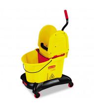 "Rubbermaid Commercial 38.6"" H x 22.4"" W WaveBrake Dual-Water Down-Press Bucket/Wringer 35 qt., Yellow"