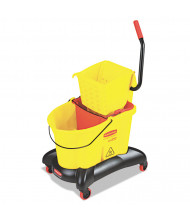 "Rubbermaid Commercial 38.6"" H x 16.5"" W WaveBrake Dual-Water Side-Press Mop Bucket/Wringer 35 qt., Yellow"