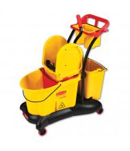 "Rubbermaid Commercial 38.6"" H x 28.9"" W WaveBrake Mopping Trolley Down-Press Bucket/Wringer 8.75 gal., Yellow"