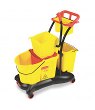 "Rubbermaid Commercial 38.6"" H x 18.25"" W WaveBrake Mopping Trolley Side Press 35 qt., Yellow"