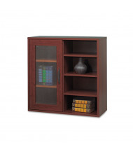 Safco Apres 9444MH Single-Door Cabinet with Shelves, Mahogany