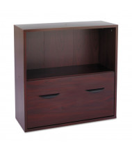 Safco 9445MH Apres 1-Drawer File Cabinet with Shelf, Letter Size, Mahogany