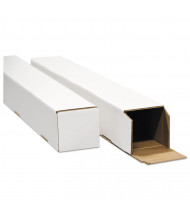"""General Supply 37"""" x 4"""" Square Mailing Tubes, White, Pack of 25"""