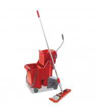 "Unger 60"" H x 16.5"" W Side-Press Restroom Mop Dual Bucket 8 gal., Red"