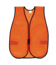MCR Safety Crews Polyester Mesh Safety Vest with Hook Closure, Orange