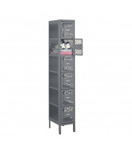 "Tennsco Ventilated 6 Tier 1 Wide Box Locker with Legs 12"" W x 18"" D x 78"" H (Shown in Medium Grey)"