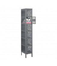 "Tennsco Ventilated 6 Tier 1 Wide Box Locker with Legs 12"" W x 18"" D x 78"" H (Shown in Medium Grey)"