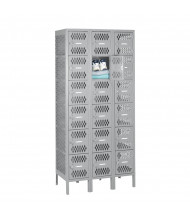 "Tennsco Ventilated Assembled 6-Tiered Box Locker-3 Wide Unit-36"" W x 18"" D x 78"" H (Shown in Light Grey)"