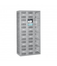 "Tennsco Ventilated Assembled 6-Tiered Box Locker 3 Wide Unit-36"" W x 18"" D x 72"" H without Legs - Shown in Light Grey"