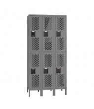 Tennsco Ventilated Assembled Double Tier 3-Wide Metal Lockers with Legs (Shown in Medium Grey)