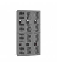 Tennsco Ventilated Assembled Double Tier 3-Wide Metal Lockers (Shown in Medium Grey)